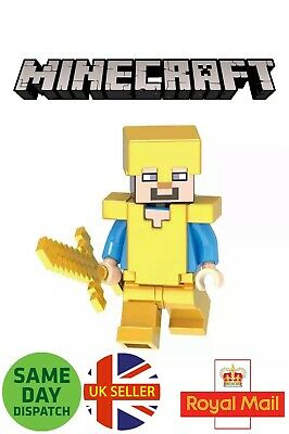 MINECRAFT Diamond Steve Gold Mini Figure Sword Gaming Skin Overworld UK Seller
