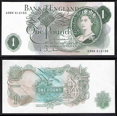 """Bank of England, Hollom, £1, (1963), first series & """"G"""" reverse, A38N 612155 ..."""
