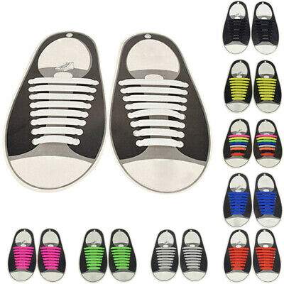 16Pcs Set No-Tie Shoelaces Rubber Silicone Slip Easy Sneaker Shoe Laces Up SALE