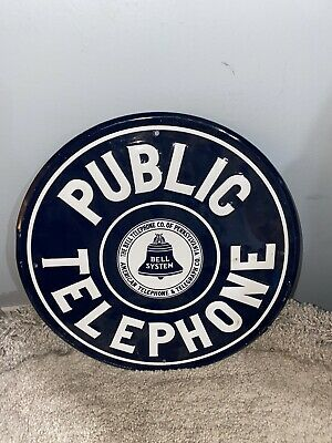 Public telephone metal sign 1ft x1ft