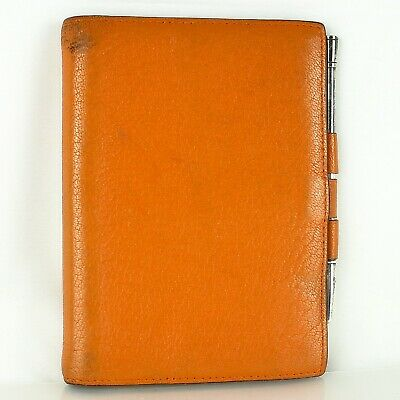 HERMES AGENDA GM Notebook Day Planner Cover Leather Orange with Ballpoint Pen