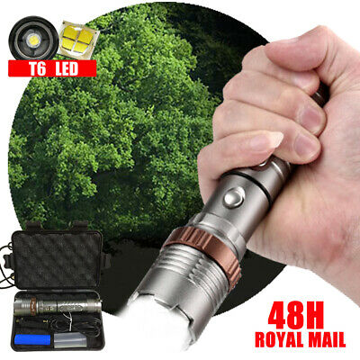 Super Bright 900000LM T6 Zoom Flashlight LED USB Rechargeable Torch Lamp Light
