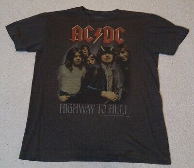 AC/DC Size Medium Retro Brown Highway To Hell Graphic Band Tee T-Shirt EUC