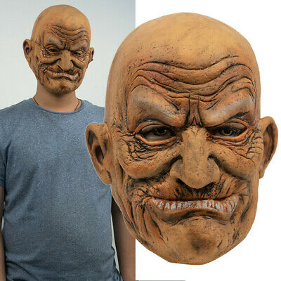 Vecchio Calvo GHDFH The Elder Old Man Headgear Another Me Halloween Carnival Mask Dance Party Latex Human Wrinkle Spaventoso Old Man for Masquerade Halloween Realistic Headgear Decor