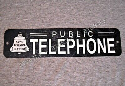 Metal Sign TELEPHONE public pay coin vintage replica phone booth rotary black