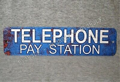 """Metal Sign TELEPHONE PAY STATION public coin vintage replica phone booth 3""""x12"""""""