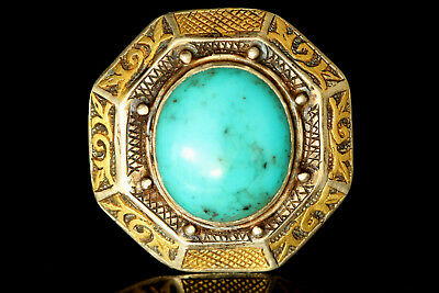 STUNNING Seljuk Silver Ring, Persian Turquoise, Gold Overlead, Islamic Patterns