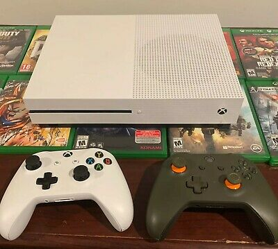 Microsoft Xbox One S 1TB Console - HUGE BUNDLE - 2 CONTROLLERS - 10 GAMES!