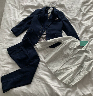 Monsoon Boys Navy Blue Four Piece Suit Jacket Trousers Worn Once Age 4 Cost £95
