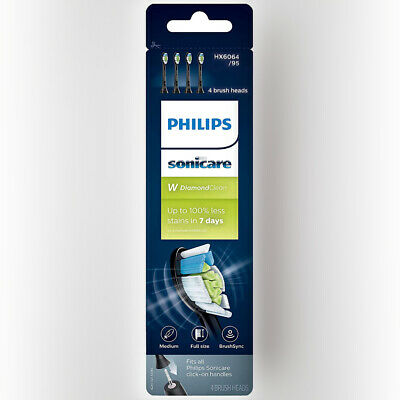 Philips Sonicare Diamond Clean Toothbrush Replacement Heads HX6064/95 BLACK - 4X