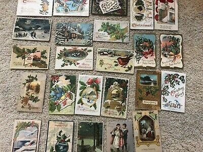 LOT OF 24 Antique CHRISTMAS POSTCARDS  GREAT MIX!!