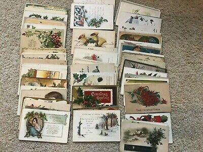LARGE LOT OF 85 Antique CHRISTMAS POSTCARDS  GREAT MIX!!