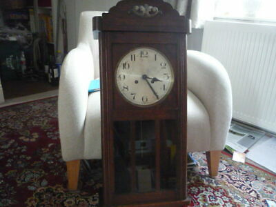 wall clock-vintage,C1900, oak case, glazed door, simple dial, serviced,collect