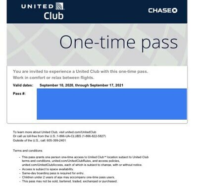 Two (2) UNITED CLUB one-time PASSES (exp 10/31/2020).