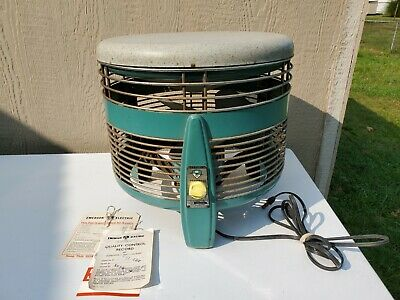 Vintage Mid Century Turquoise Emerson Hassock 3 Speed Fan 74646-AW Runs Great