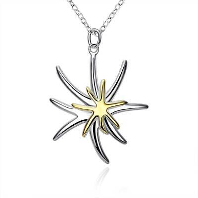"""925 Sterling Silver Plated Two Tone Starfish Charm Pendant Chain Necklace 18"""""""