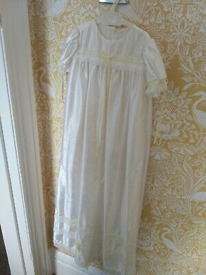 Beautiful white Christening gown and Bonnet with yellow bow lace trim