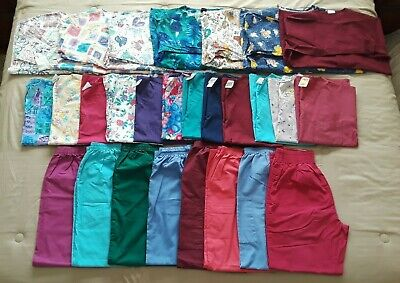 Lot of 27 - Women's SCRUBS - 8 pants (small), 12 tops (small), 7 jackets (med)