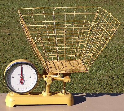 Rare Vintage Original Yellow Detecto Dry Cleaning Laundry Scale With Wire Basket