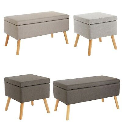 Upholstered Grey Fabric Ottoman Trunk Storage Bedding Box Pouffe Stool Footstool