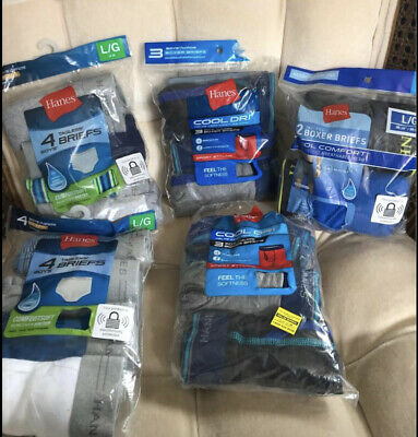 Boys Size Large Hanes Briefs And Boxer Briefs Lot (16 Pair)