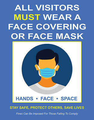 Sign Adhesive Sticker Notice Visitors Must Wear A Face Mask Covering Hands Face