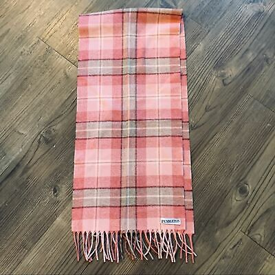"Pendleton Women's Unisex Virgin Wool Plaid Fringe Scarf Wrap Pink & Gray 52""x11"""