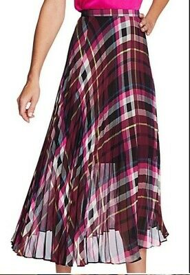 NWOT Vince Camuto Women's Size Large Purple Plaid Pleated Chiffon Midi Skirt