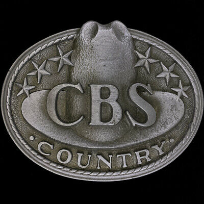 CBS Records Country Music Promo Cowboy Hat Western 80s NOS Vintage Belt Buckle