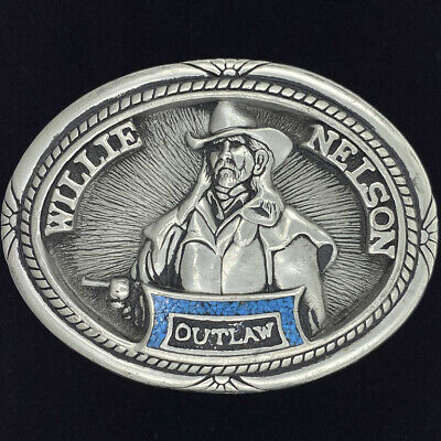 Willie Nelson Country Music Texas Outlaw Rebel Western NOS Vintage Belt Buckle
