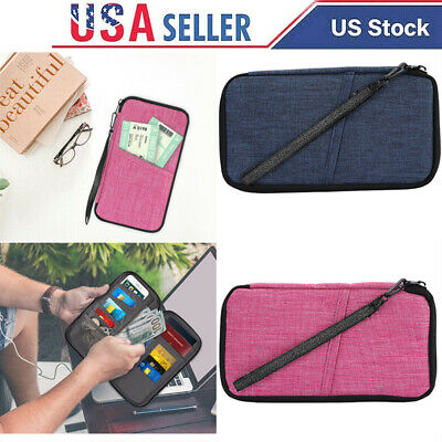 Travel Passport Holder Family Document Organizer Bag Capacious Block Wallet USA