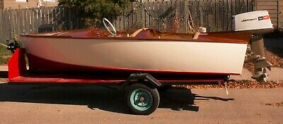 1961 Lane wooden boat Restored with 40 HP 50TH anniversary outboard motor