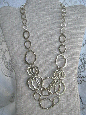Gold-Tone Statement Necklace Oval Textured Rings VNTG see desc - Free US Ship