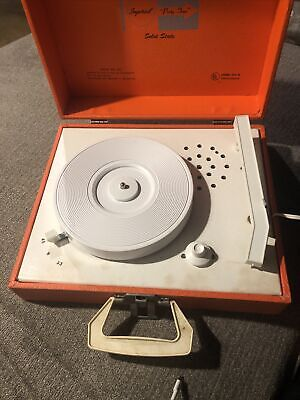 Suitcase 2-Speed Turntable ~ Free Shipping! Vintage 1970s Imperial \u201cParty-Time\u201d Solid State Portable Record Player Funky Orange Model 100