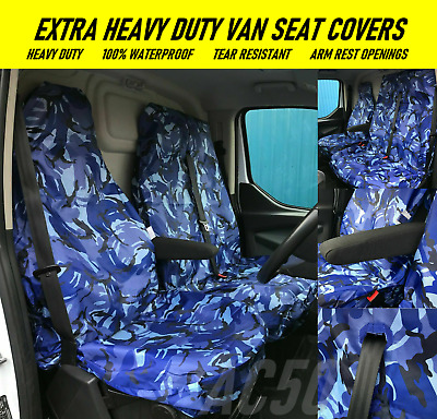VAN SEAT COVERS CAMOUFLAGE CAMO GREY HEAVY DUTY 2-1 Vauxhall Movano 2010 ON