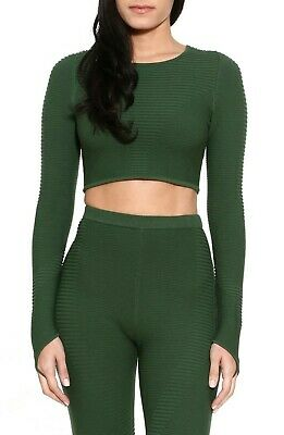 NWT Adam Selman Sport Carbon38 Rib Knit Gray Crewneck Shrug Crop Top S