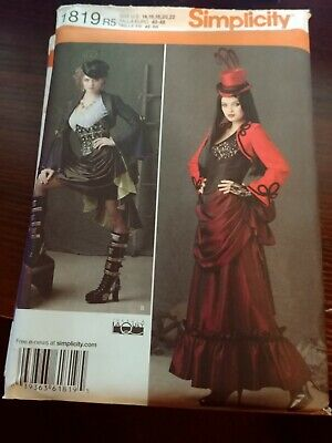 NEW OOP SIMPLICITY VICTORIAN STEAM PUNK EDGY DRESS GOWN JACKET PATTERN 1819 6-22