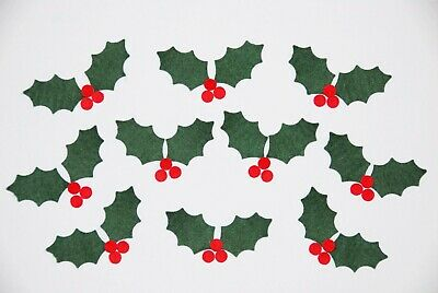 And 30 berry shapes. 20 Felt Christmas Holly Leaves 4cm x 2cm