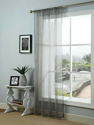 Free Postage CLEARANCE Single Voile Patterned Curtain Sheer Panels Slot Top