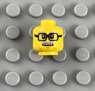 LEGO New Yellow City Grandpa Minifigure Head with Glasses and Moustache