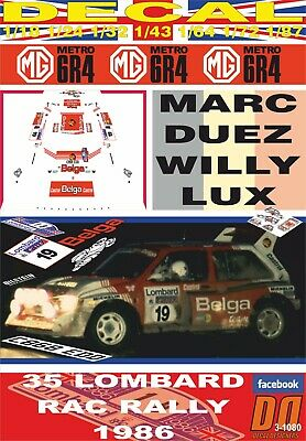 1985 DnF DECAL ROVER 3500 VITESSE MARC DUEZ YPRES 24 R 05