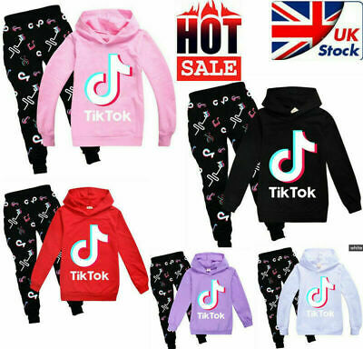 Kids Tik Tok Hoodie Pants Suit Girls Long Sleeve Tracksuit Sportswear Set UK