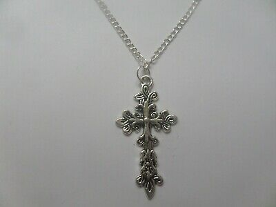 *ORNATE LARGE SILVER CROSS LILAC ROSE* Chain Necklace Gothic GIFT BAG Plated