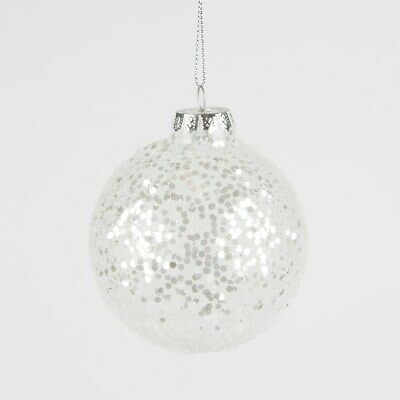 Silver Sequin Christmas Hanging Bauble Embroidered Motif Decor 88mm #11E12