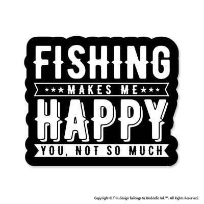 Fishing Makes Me Happy Sticker Sport Fishing Funny Decals Car Bumper