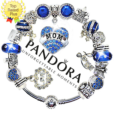 Authentic Pandora Bracelet Silver Bangle with Love Blue Mom European Charms NEW