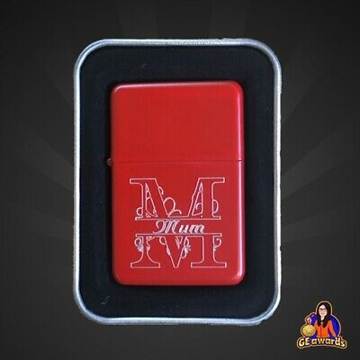 Personalised Engraved Matt Red Star Lighter with a Gift Tin (Free Delivery)