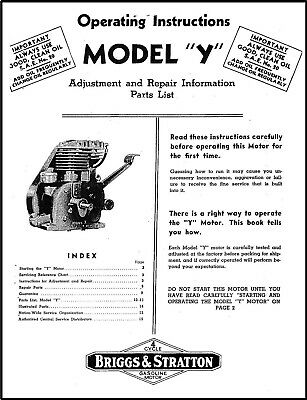 "Briggs And Stratton Model ""Y"" Engine Operating Repair Manual Service Owners Bs"