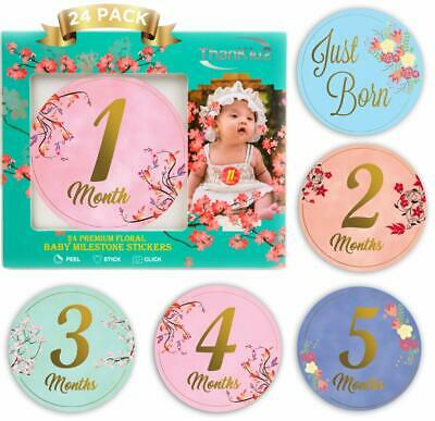 Baby Milestone Monthly Floral Stickers Best Baby Shower Gift Newborn Girl Stickers 36 Pack Baby Growth/& Holiday Stickers Decorative Photograph Prop