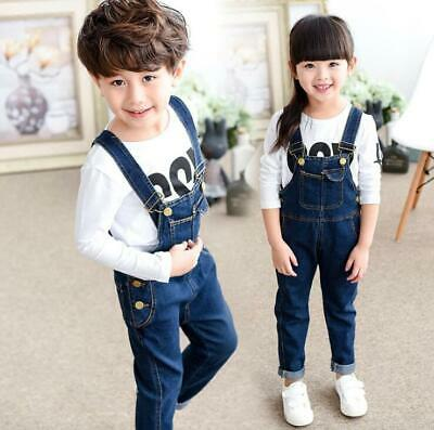 Girls Boys Strap Jeans overalls  Kids Child supender Demin Pants trousers Bibs